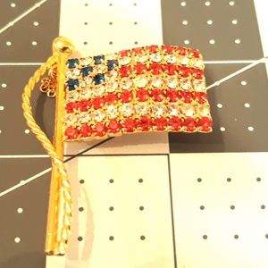 American Flag Brooch Red, Clear, and Blue crytals